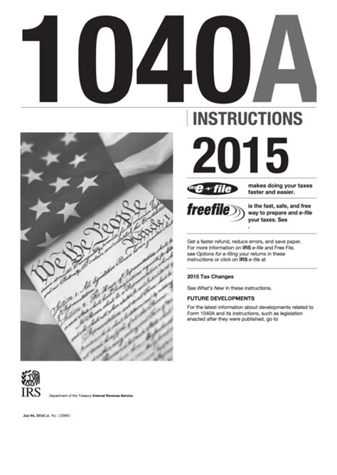 download 2015 tax forms instruction for form 1040a 2015 printable pdf download