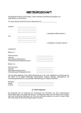 zusatzvereinbarung buerge mieter muster vorlage