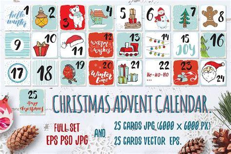 christmas advent calendar cards set pre designed
