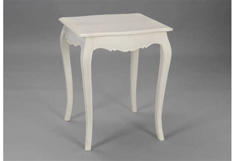 petite table carre en bois patine blanc casse murano