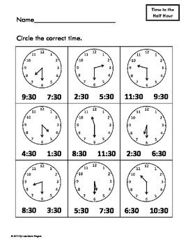 telling time practice worksheets hour half hour and