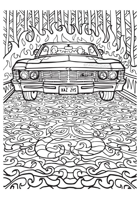 supernatural coloring book color   castiel