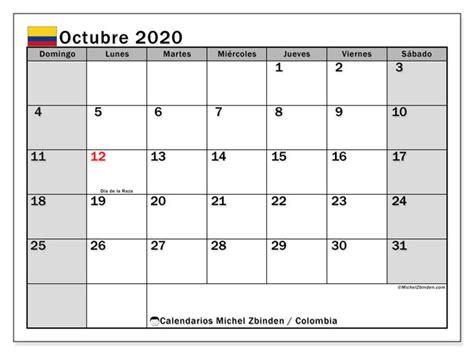 calendario octubre colombia michel zbinden es