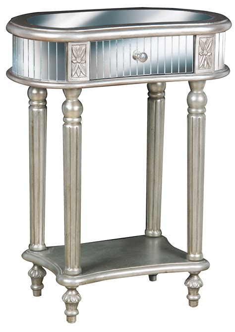 Small Mirrored Accent Table With Drawer And Shelves Plus