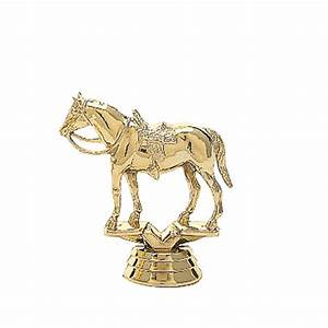 Gold Quarter Horse with Saddle Trophy Figures, Trophies ...