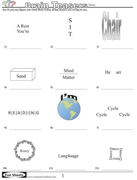 brain teaser worksheets 6th grade math brain teasers for