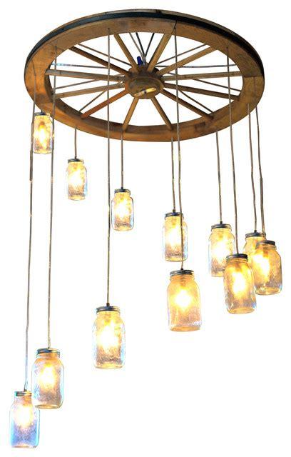 wagon wheel light with mason jars spiral wagon wheel mason jar chandelier large rustic