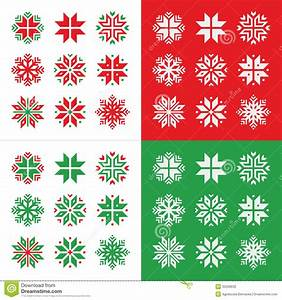 Christmas, Winter Red And Green Snowflakes Icons Set Stock ...