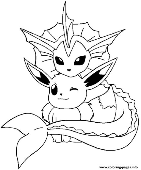 eevee coloring pages vaporeon and eevee coloring pages printable