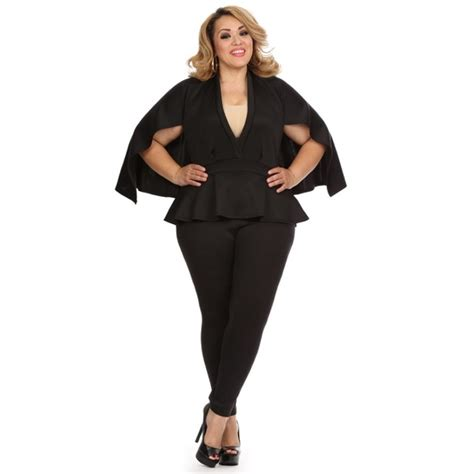 63 black plus size cape jumpsuit from glam s