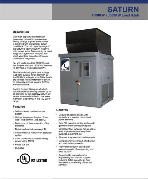 mw simplex saturn air cooled resistive load bank