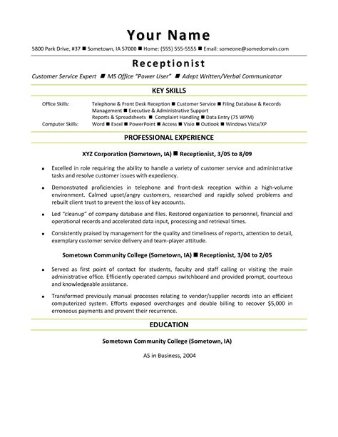 front desk resume format front office receptionist resume key skills and
