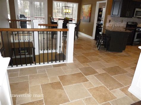 travertine kitchen tile walnut brushed chiseled travertine tile flooring tiles traditional kitchen detroit