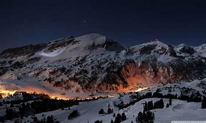 Winter Night Widescreen Wallpapers Desktop Wide Mountain