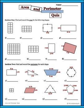 area  perimeter activities centers worksheets quiz