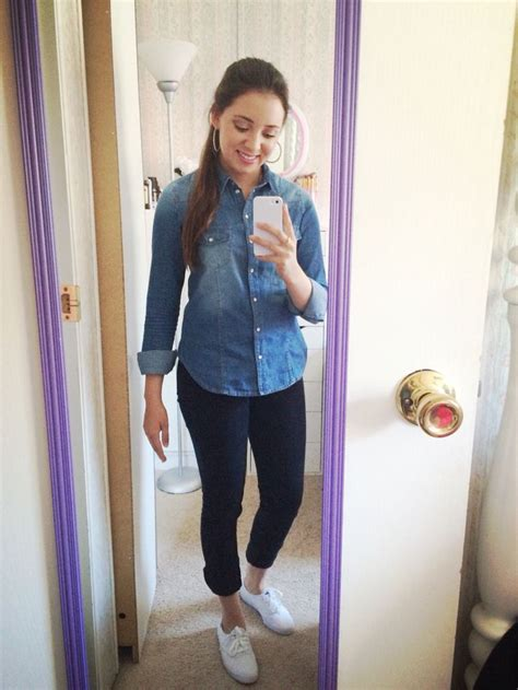 Very simple OOTD! Denim shirt Fashion Q Store Black jeans Ross Shoes Classic White Keds | s ...