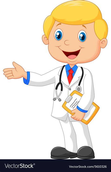 cartoon doctor smiling  waving vector image