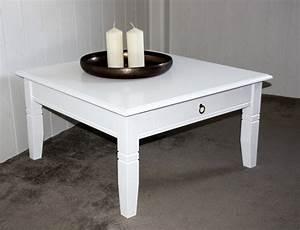 Tisch Weiß Holz : massivholz couchtisch beistelltisch wei sofatisch tisch 85x85cm mit schublade ~ Indierocktalk.com Haus und Dekorationen