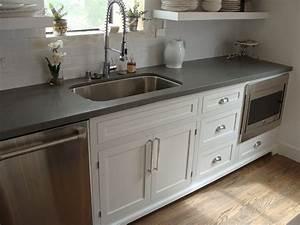 Shaker style cabinets and concrete gray quartz countertop ...
