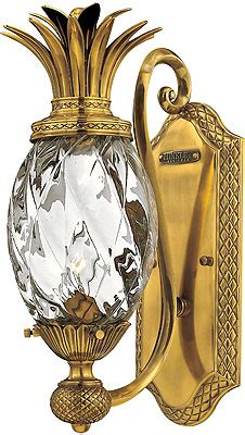 plantation pineapple wall sconce  clear optic glass house  antique hardware