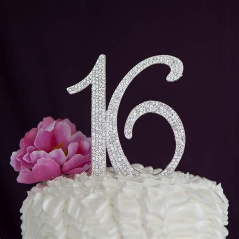 silver rhinestone sweet sixteen 16 sweet 16 sixteen birthday cake topper silver number