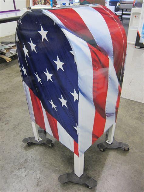 vinyl wrap turns mailbox  flag drop