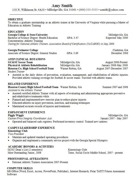 objective  resume athletic trainer http