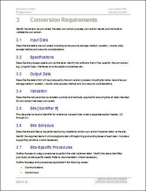 conversion plan template ms word templates forms