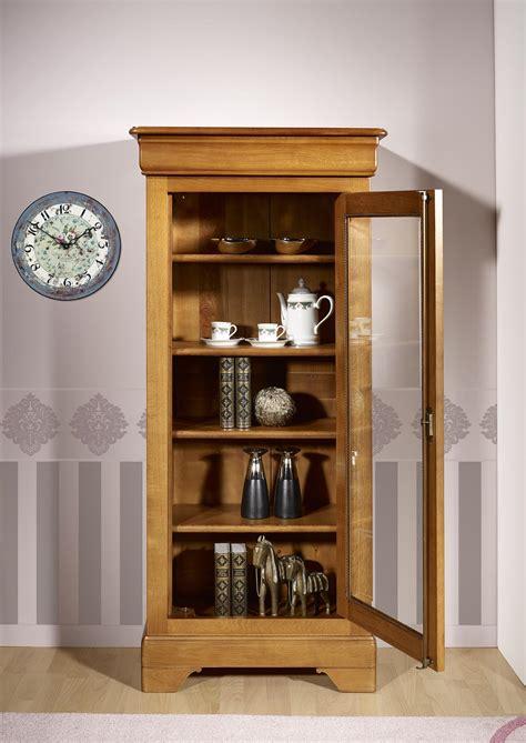 vitrine 1 porte angelo en ch 234 ne massif de style louis philippe meuble en ch 234 ne massif