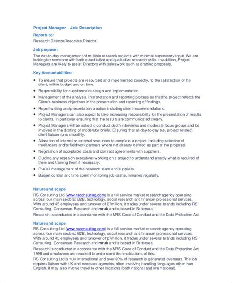 manager description 9 free pdf word documents