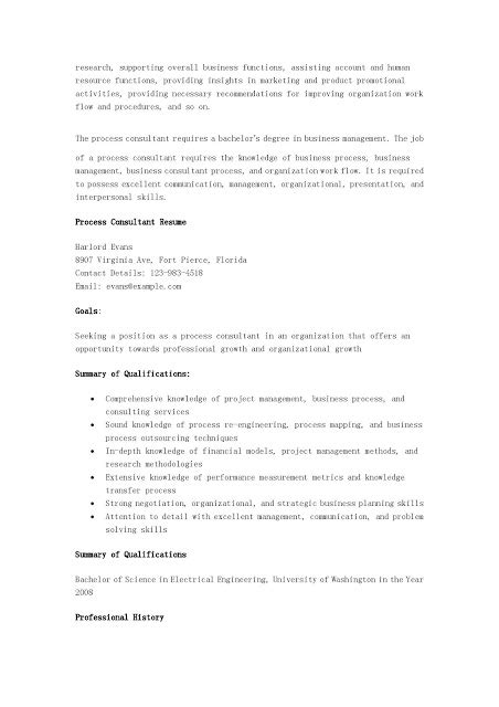 Process Consultant Resume Sle by Resume Sles Process Consultant Resume