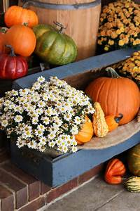 Fall, Porch, Decor, With, Plants, And, Pumpkins