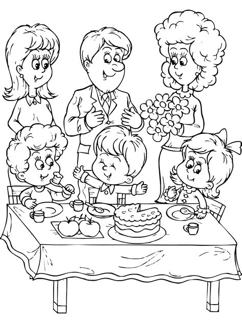 birthday  family coloring pages deti kontur