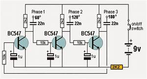 Transistorized 3 Phase Signal Generator Circuit