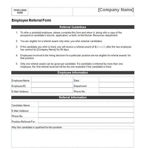 employee referral form employee referral form template