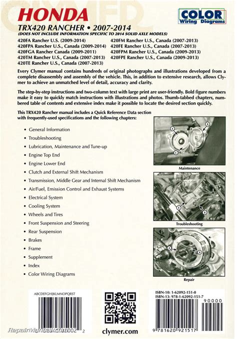 free online car repair manuals download 2007 honda element engine control honda trx420 rancher atv clymer service manual 2007 2014