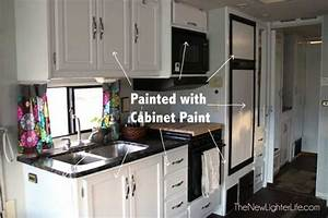 How to paint rv cabinets without sanding or primer for Kitchen colors with white cabinets with happy camper sticker