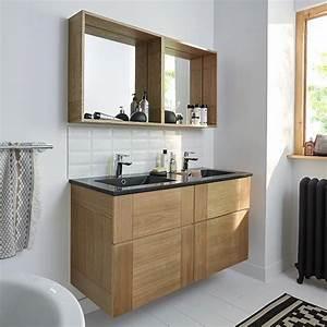 castorama meuble de salle de bains frene 120 cm essential With meuble salle de bain 140 cm sans vasque
