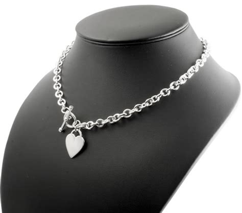 solid sterling silver heart  bar necklace british