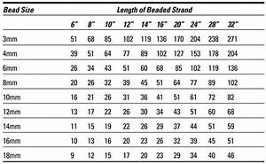 Bali Women S Size Chart Estimating How Many Beads You Need By Heather H Dismore