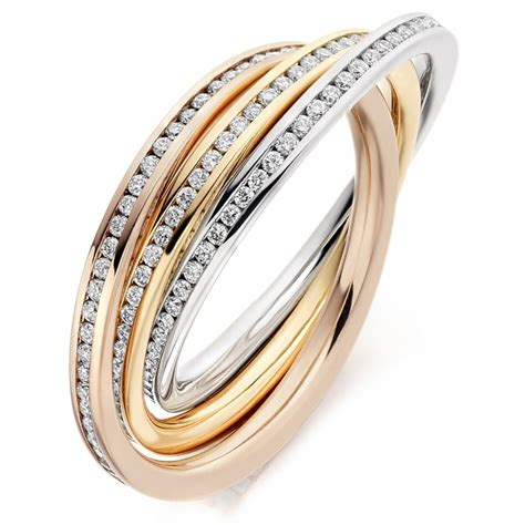 the raphael collection 18ct multi gold 1 00ct diamond channel russian wedding ring the