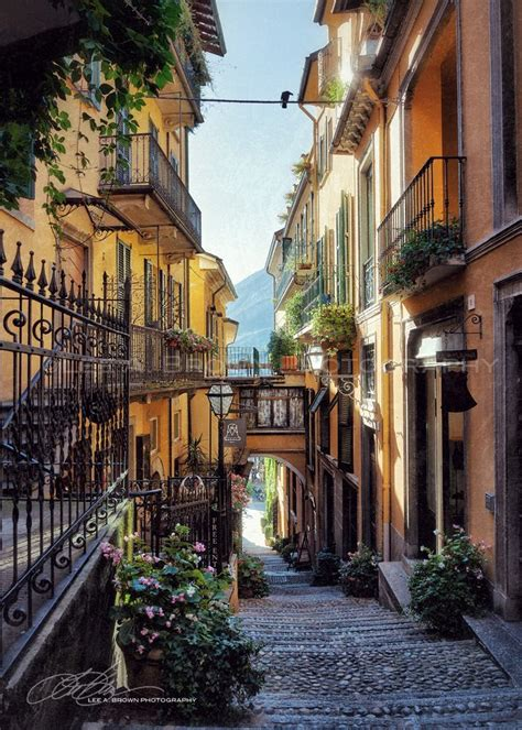 Beautiful Street Scene In Bellagio On Lake Como Italy