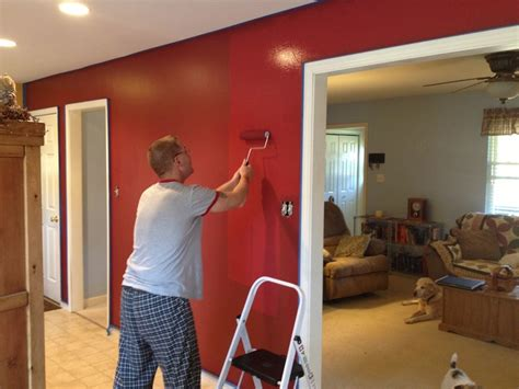 cabin red accent walls  kitchendining room decorating