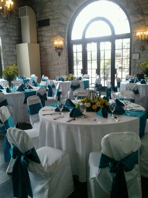 yellow  teal wedding reception centerpieces