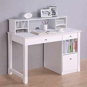 Walker edison deluxe home office writing desk with storage for Office desk with hutch storage
