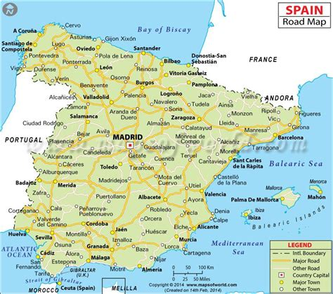 road map  france spain  portugal  travel
