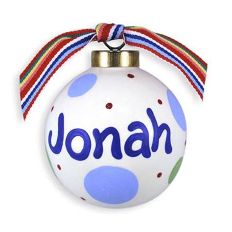 personalized christmas ball ornament polkadots boy