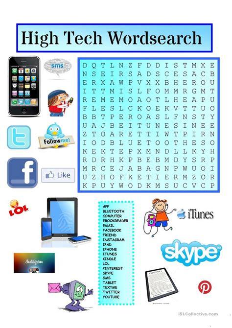 high tech wordsearch  key worksheet  esl