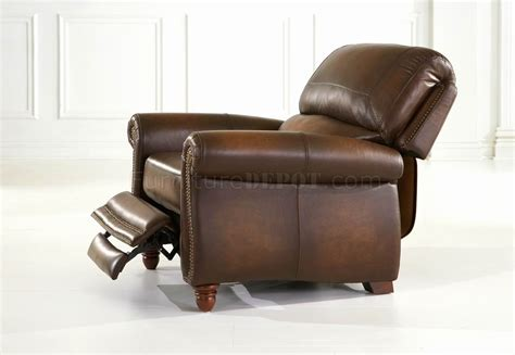 leather italia classic light brown push back recliner