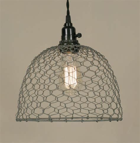 primitive gray chicken wire rustic swag l l shade pro